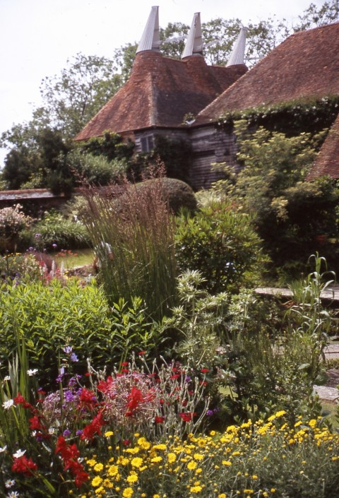 The old oast houses and cow byre, now converted to the sunken garden by Edwin Lutyens.